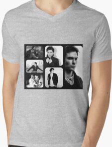 Ian Somerhalder in Black and White Mens V-Neck T-Shirt