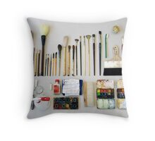 Watercolor utensils Throw Pillow