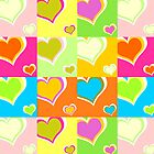 Colorful hearts background by PNog