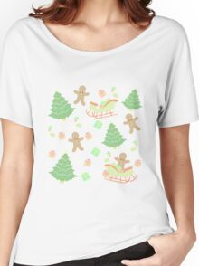 Sleighing with Gingerbread Man #1 Women's Relaxed Fit T-Shirt
