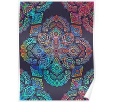 rainbow blacklight neon fractal floral pattern trip Poster
