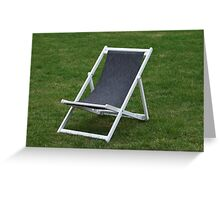 deck chair on green grass Greeting Card
