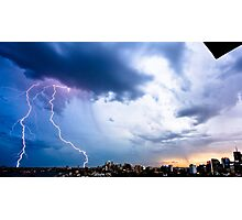 Lightning storm at night over Sydney city, Australia Photographic Print
