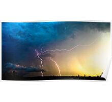 Lightning storm over Sydney city, Australia Poster