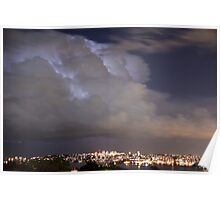 Lightning storm within cloud, over Sydney city, Australia Poster