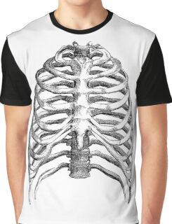 Vintage Skeleton Rib Cage Half Tone Sketch Graphic T-Shirt