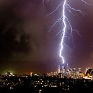 Lightning storm at night over Sydney city, Australia by Sharpeyeimages