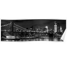 Night-Skyline NEW YORK CITY b&w Poster