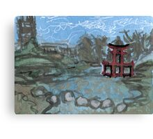 red pagoda in the pond Canvas Print