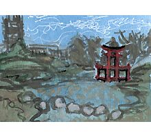 red pagoda in the pond Photographic Print