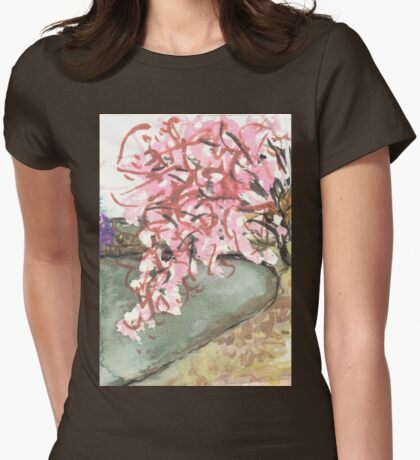 cherry blossoms over water Womens Fitted T-Shirt