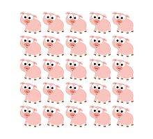Cute Pink Pig Overload Photographic Print