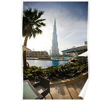 Poolside view of the Burj Khalifa Poster
