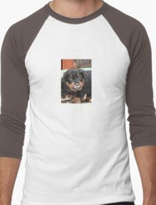 Messy Rottweiler Puppy With Food Covering Nose Men's Baseball ¾ T-Shirt