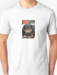 Messy Rottweiler Puppy With Food Covering Nose Unisex T-Shirt