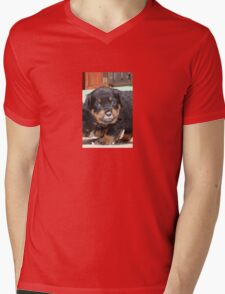 Messy Rottweiler Puppy With Food Covering Nose Mens V-Neck T-Shirt