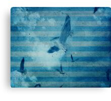 seagull in cyan 2 Canvas Print