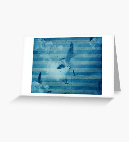 seagull in cyan 2 Greeting Card