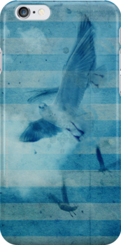 seagull in cyan 2 by frederic levy-hadida