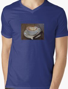 Americano Coffee with Tulip Design Mens V-Neck T-Shirt