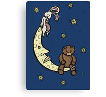 Teddy Bear and Bunny - Caught In The Moonlight Canvas Print