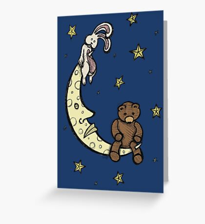 Teddy Bear and Bunny - Caught In The Moonlight Greeting Card