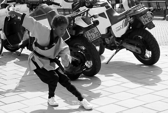 Kung Fu Motor Girl - BW by steppeland