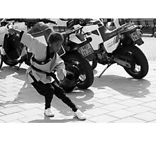 Kung Fu Motor Girl - BW Photographic Print