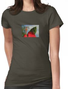 Close Up of Red Hibiscus Stamen and Pollen Womens Fitted T-Shirt