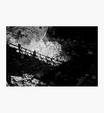 Self-portrait on bridge against rocks Photographic Print