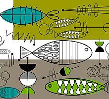 Mid-Century Modern Fish Art by Gail Gabel, LLC