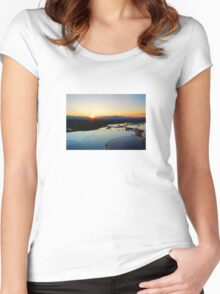Pamukkale Sunset Vector Women's Fitted Scoop T-Shirt