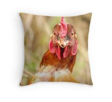 Newly Rescued Battery Hen Throw Pillow