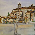 Anghiari. Tuscany Italy. Pen and wash. 2010Ⓒ by Elizabeth Moore Golding