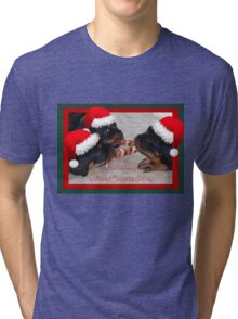 Christmas Rottweilers: A Time Of Joyous Giving  Tri-blend T-Shirt