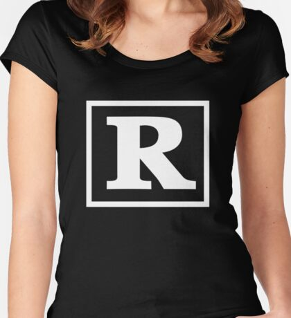 Rated R - In White Print Women's Fitted Scoop T-Shirt