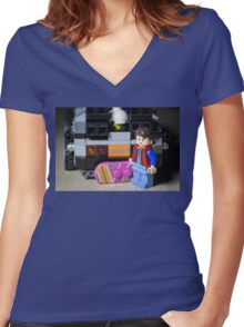 Marty Gets the Hoverboard out Women's Fitted V-Neck T-Shirt