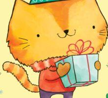 Christmas Cat, Mice, Tree and Misletoe Sticker