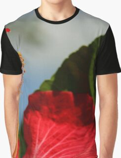 Close Up of Red Hibiscus Stamen and Pollen Graphic T-Shirt