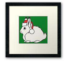 White Arctic Hare with Christmas Red Santa Hat Framed Print