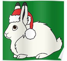 White Arctic Hare with Christmas Red Santa Hat Poster