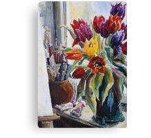 Studio Corner With Tulips Canvas Print