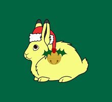 Yellow Arctic Hare with Santa Hat, Holly & Gold Bell Unisex T-Shirt