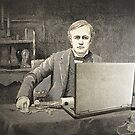 XIX century scientist with my laptop by Luisa Fumi