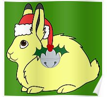 Yellow Arctic Hare with Santa Hat, Holly & Silver Bell Poster
