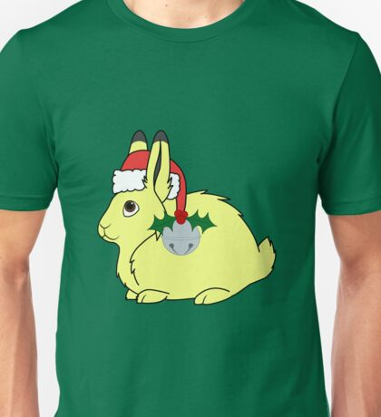 Yellow Arctic Hare with Santa Hat, Holly & Silver Bell Unisex T-Shirt