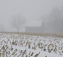 Barn , In Fog and Snow by jpsphotoart