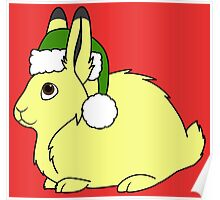 Yellow Arctic Hare with Christmas Green Santa Hat Poster