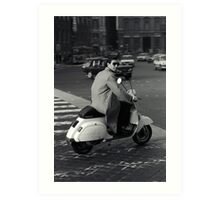 Scooterman Rome Art Print