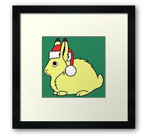 Yellow Arctic Hare with Christmas Red Santa Hat Framed Print